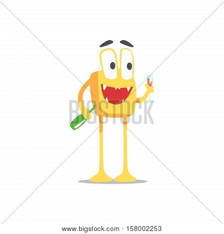 Happy Orange Square Monster With Bottle And Glass Of Wine Partying Hard As A Guest At Glamorous Posh Party Vector Illustration Part Of The Funny Alien Animal Cartoon Characters At The Celebration Collection.