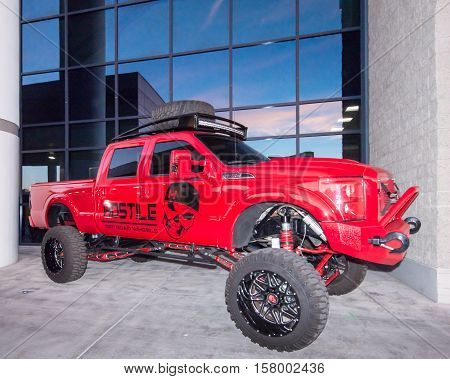 LAS VEGAS NV/USA - OCTOBER 31 2016: Customized Ford F-250 truck at the Specialty Equipment Market Association (SEMA) 50th Anniversary auto trade show. Sponsor: Hostile Wheels