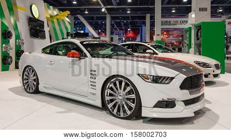 LAS VEGAS NV/USA - NOVEMBER 1 2016: Customized Ford Mustang car at the Specialty Equipment Market Association (SEMA) 50th Anniversary auto trade show. Booth: Velocity Wheel
