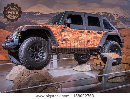 LAS VEGAS NV/USA - NOVEMBER 1 2016: Customized Jeep at the Specialty Equipment Market Association (SEMA) 50th Anniversary auto trade show.