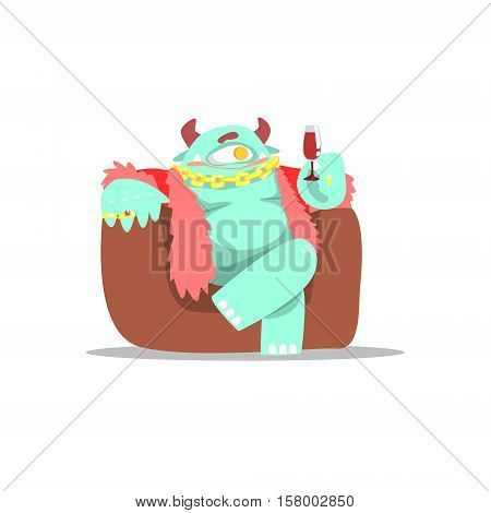 Blue Monster In Furry Vest Wearing Jewelry And Drinking Wine Partying Hard As A Guest At Glamorous Posh Party Vector Illustration Part Of The Funny Alien Animal Cartoon Characters At The Celebration Collection.