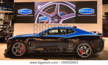 LAS VEGAS NV/USA - NOVEMBER 1 2016: Customized Chevrolet Camaro car at the Specialty Equipment Market Association (SEMA) 50th Anniversary auto trade show. Booth: Cragar Wheels
