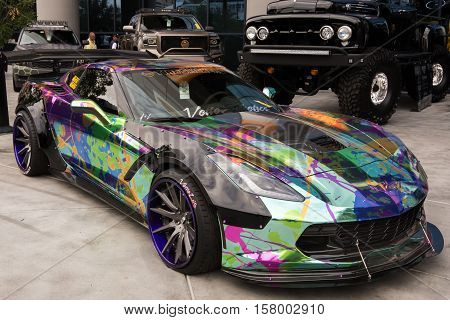 LAS VEGAS NV/USA - NOVEMBER 1 2016: Customized Chevrolet Corvette car at the Specialty Equipment Market Association (SEMA) 50th Anniversary auto trade show. Booth: Tire Stickers Sponsor: Vettesthetics