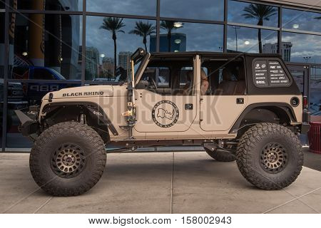 LAS VEGAS NV/USA - NOVEMBER 1 2016: Customized Jeep at the Specialty Equipment Market Association (SEMA) 50th Anniversary auto trade show. Sponsor: Black Rhino Hard Alloy Wheels