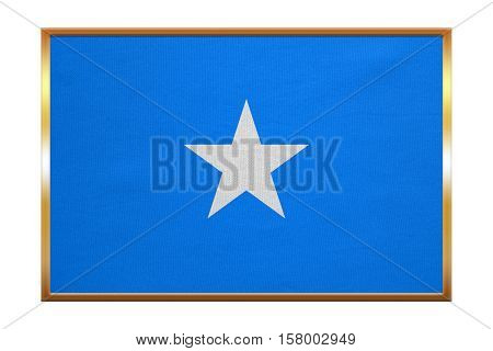 Somali national official flag. African patriotic symbol banner element background. Correct colors. Flag of Somalia golden frame fabric texture illustration. Accurate size color