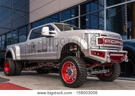 LAS VEGAS NV/USA - NOVEMBER 1 2016: Customized Ford F-350 truck at the Specialty Equipment Market Association (SEMA) 50th Anniversary auto trade show. Builder: Bully Dog