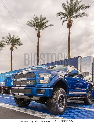 LAS VEGAS NV/USA - NOVEMBER 1 2016: Customized Ford Shelby F-150 truck at the Specialty Equipment Market Association (SEMA) 50th Anniversary auto trade show. Builder: Tuscany Motor