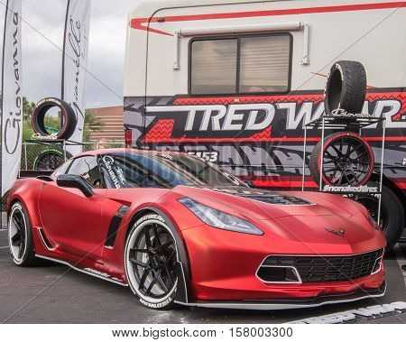 LAS VEGAS NV/USA - NOVEMBER 1 2016: Customized Chevrolet Corvette car at the Specialty Equipment Market Association (SEMA) 50th Anniversary auto trade show. Booth: Tred Wear Letters