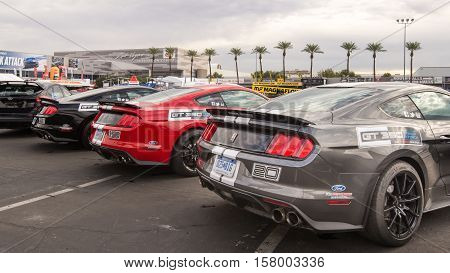 LAS VEGAS NV/USA - NOVEMBER 1 2016: Three Ford Mustang GT350 cars at the Specialty Equipment Market Association (SEMA) 50th Anniversary auto trade show. Booth: Ford Performance