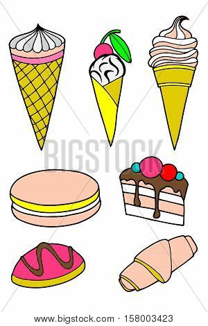 Pastries cakes and ice cream icon set with an ice cream cone and lolly cupcake cake cookies donuts milkshake dessert and lollipop with icing and cherries vectors on white