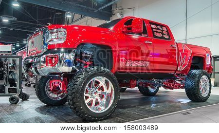 LAS VEGAS NV/USA - NOVEMBER 1 2016: GMC Sierra 1500 truck at the Specialty Equipment Market Association (SEMA) 50th Anniversary auto trade show. Booth: McGaughys Suspension
