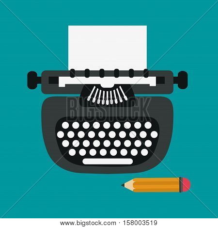 Typewriter and pencil icon. Blog network multimedia technology social media and communication theme. Vector illustration