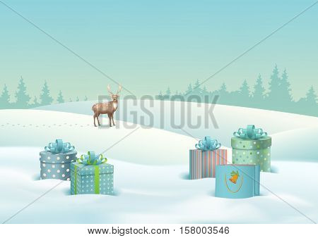 Vector Winter Christmas Landscape with gifts, snow covered hills, deer