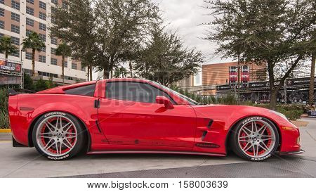 LAS VEGAS NV/USA - NOVEMBER 1 2016: Customized Chevrolet Corvette car at the Specialty Equipment Market Association (SEMA) 50th Anniversary auto trade show.