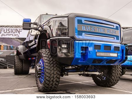 LAS VEGAS NV/USA - NOVEMBER 1 2016: Customized truck at the Specialty Equipment Market Association (SEMA) 50th Anniversary auto trade show. Name: Back The Blue