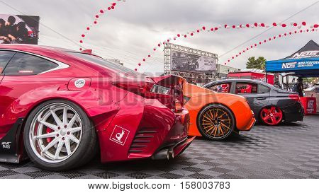 LAS VEGAS NV/USA - NOVEMBER 1 2016: Customized Lexus RC 350 Sport and two other tuner cars at the Specialty Equipment Market Association (SEMA) 50th Anniversary auto trade show.