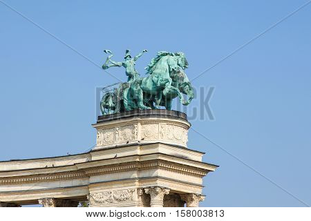 Statue Of War On Heroes Square In Budapest, Hungary