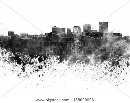 Dayton Skyline In Black Watercolor On White Background