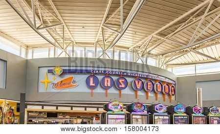 LAS VEGAS NV/USA - NOVEMBER 7 2016: Slot machines at McCarran International Airport terminal below a