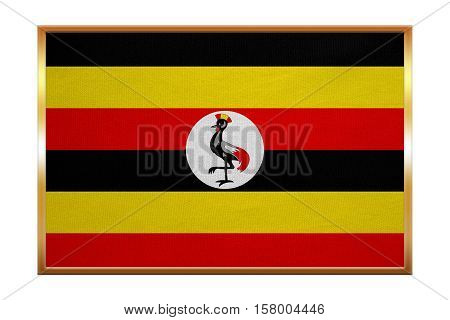Ugandan national official flag. African patriotic symbol banner element background. Correct colors. Flag of Uganda golden frame fabric texture illustration. Accurate size color