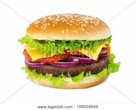 Classic Hamburger Isolated On White Background