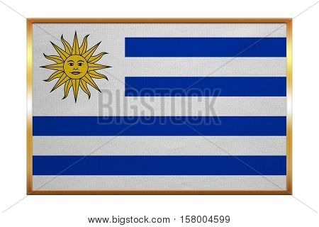 Uruguayan national official flag. Patriotic symbol banner element background. Correct colors. Flag of Uruguay golden frame fabric texture illustration. Accurate size color