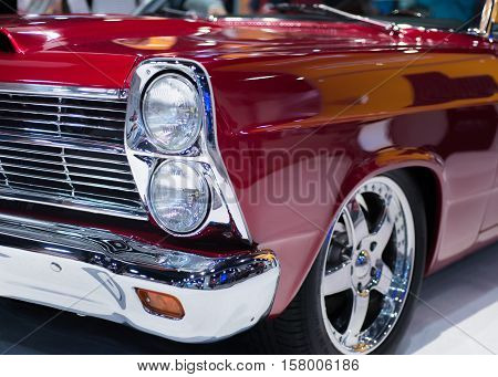 LAS VEGAS NV/USA - NOVEMBER 1 2016: Close up of a 1966 Ford Fairlane car at the Specialty Equipment Market Association (SEMA) 50th Anniversary auto trade show. Builder: Anton's Hot Rod Shop