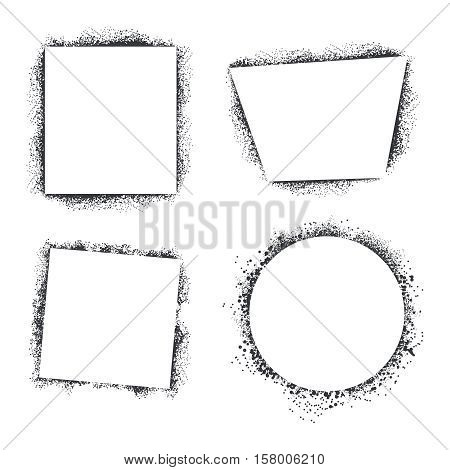 Spray texture frames isolated on white background. Set of frames in form round and square. Grunge frame for banner, vector illustration