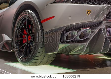 LAS VEGAS NV/USA - NOVEMBER 2 2016: Close up of a Lamborghini dual exhaust system at the Specialty Equipment Market Association (SEMA) 50th Anniversary auto trade show.