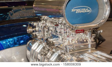 LAS VEGAS NV/USA - NOVEMBER 2 2016: Close up of a billet aluminum Edelbrock intake at the Specialty Equipment Market Association (SEMA) 50th Anniversary auto trade show.