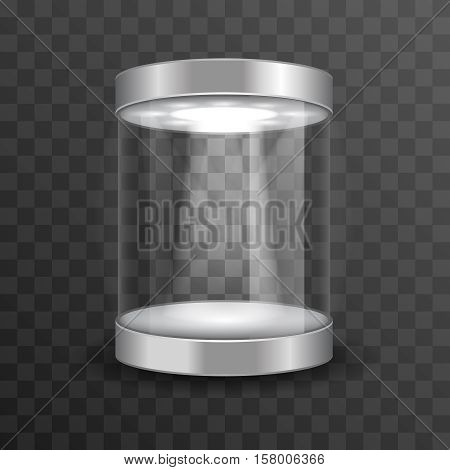 Empty glass showcase for museum exhibition on transparent background. Mockup object in form cylinder, vector illustration poster