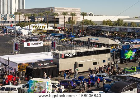 LAS VEGAS NV/USA - NOVEMBER 3 2016: Ford and Roush performance outdoor booths at the Specialty Equipment Market Association (SEMA) 50th Anniversary auto trade show held at the Las Vegas Convention Center.