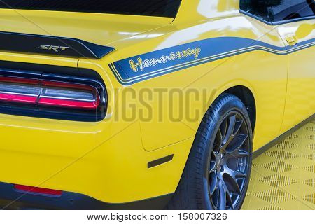 LAS VEGAS NV/USA - NOVEMBER 4 2016: Dodge Challenger SRT Hellcat car at the Specialty Equipment Market Association (SEMA) 50th Anniversary auto trade show. Builder: Hennessey Performance