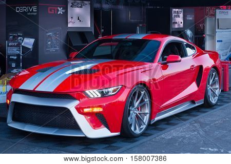 LAS VEGAS NV/USA - NOVEMBER 3 2016: Custom Ford Mustang tribute to the Ford GT at the Specialty Equipment Market Association (SEMA) auto trade show. Name: GTT Builder: Zero to 60 Designs