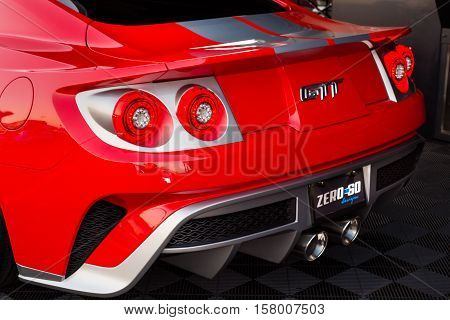 LAS VEGAS NV/USA - NOVEMBER 3 2016: Customized Ford Mustang car tribute to the Ford GT at the Specialty Equipment Market Association (SEMA) auto trade show. Name: GTT Builder: Zero to 60 Designs