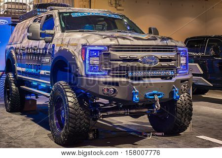LAS VEGAS NV/USA - NOVEMBER 4 2016: A Customized Matchbox Police themed truck based on a 2017 Ford F-350 Super Duty XL at the Specialty Equipment Market Association (SEMA) 50th Anniversary auto trade show. Builder: Skyjacker Suspensions