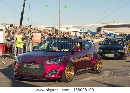 LAS VEGAS NV/USA - NOVEMBER 4 2016: Gurnade Hyundai Veloster car at the Specialty Equipment Market Association (SEMA) 50th Anniversary auto trade show parade.