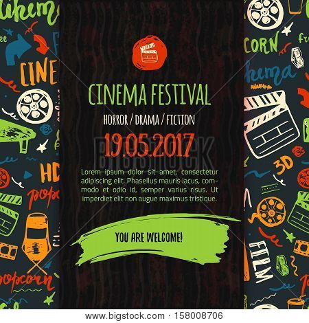 Cinema festival poster with seamless pattern on background with attributes of film industry. Cinematography design items: camera, film tape, popcorn, chair, stars