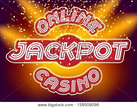 Online casino jackpot lettering. Neon Light Alphabet Vector Font. Neon tube letters on the gold money fall and lightspot background