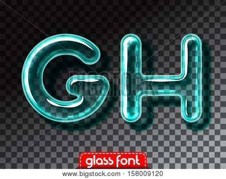 Super realistic glass alphabet font with transparency and shadows. 3D glowing glass bulb isolated letters and numbers for dark backgrounds