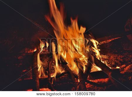 A close up of the aflame wood in bonfire.