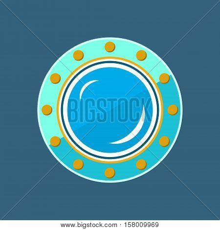 Round Ship Porthole, Shipboard Window, Vector Illustration