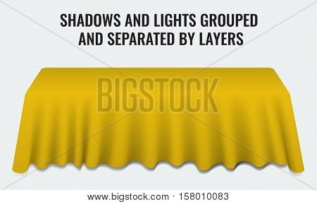 Empty dinner banquet table with yellow cloth 3d realistic desk vector illustration. Shadows and lights grouped by layers.