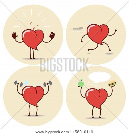Heart and a healthy lifestyle a set of different positions. Vector cartoon icons