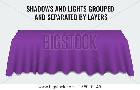 Empty dinner banquet table with purple cloth 3d realistic desk vector illustration. Shadows and lights grouped by layers.
