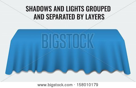 Empty dinner banquet table with blue cloth 3d realistic desk vector illustration. Shadows and lights grouped by layers.