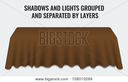 Empty dinner banquet table with brown cloth 3d realistic desk vector illustration. Shadows and lights grouped by layers.