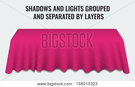 Empty dinner banquet table with pink cloth 3d realistic desk vector illustration. Shadows and lights grouped by layers.