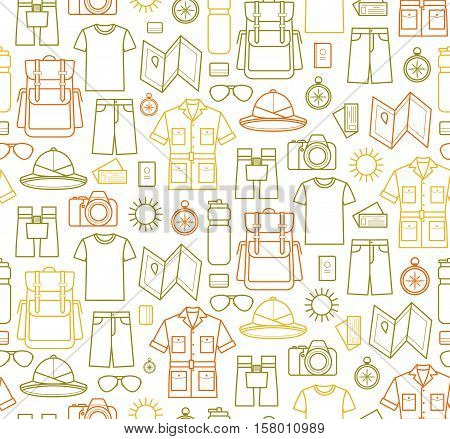 Safari Endless background. Vector icons set of safari planning a summer vacation tourism and journey objects and passenger luggage. Seamless pattern on white background. Safari clothes