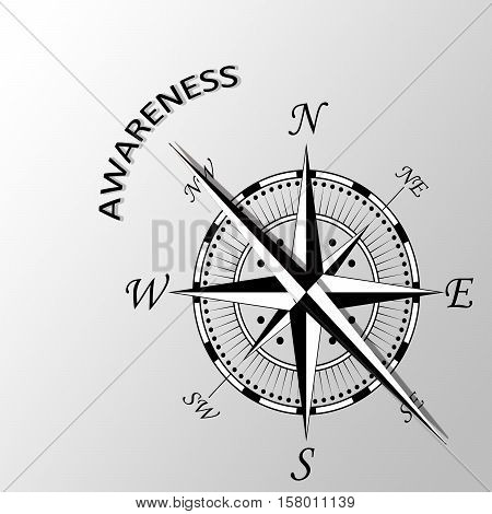 Illustration of Awareness written aside a compass